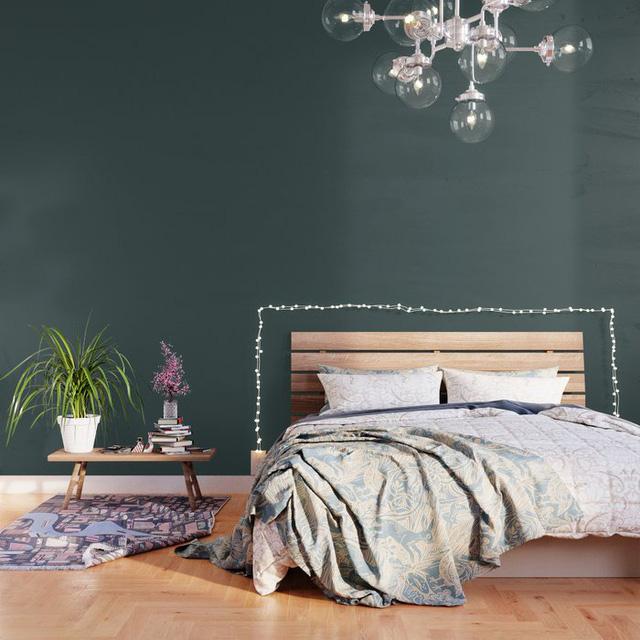 tường phòng ngủ màu xanh lá cây thẫm