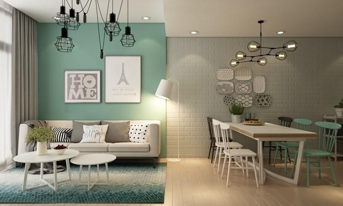 tường nhà màu xanh và xám