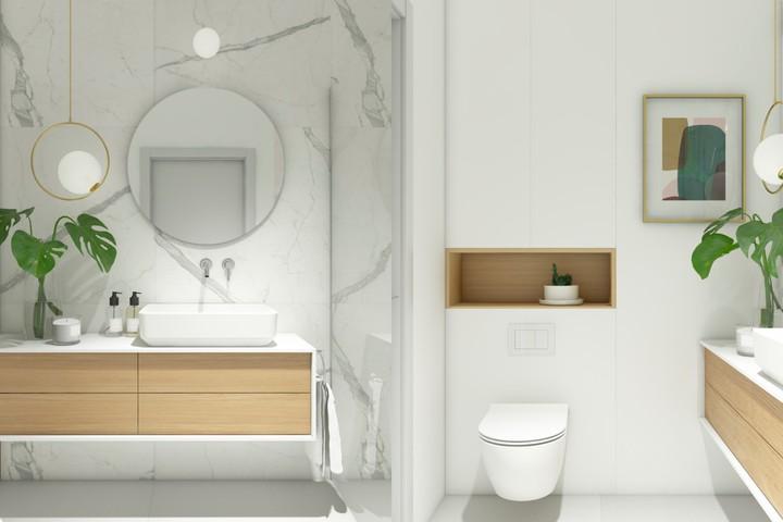 phòng tắm hiện đại màu trắng