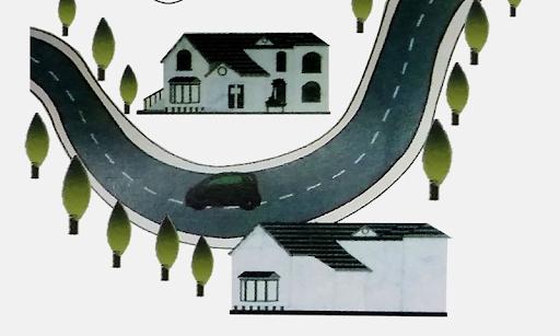 Minh họa nhà phạm phản cung sát, con đường uốn hình cánh cung ở giữa, hai bên là hai ngôi nhà.