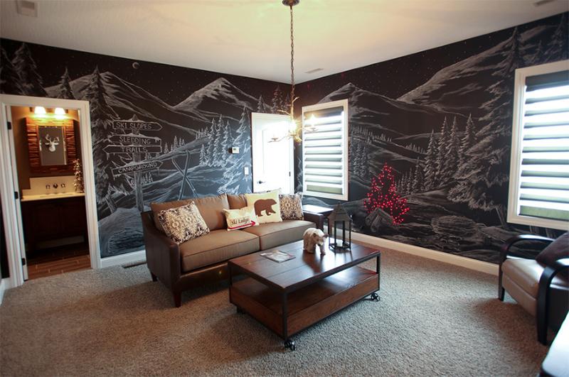 tường sơn bảng đen vẽ hình núi tuyết
