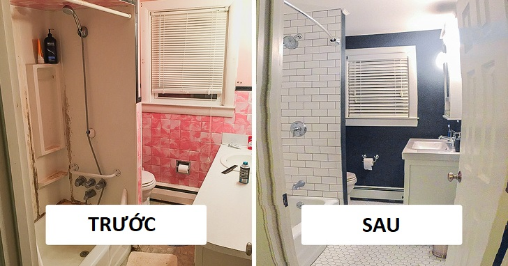 phòng tắm trước và sau khi cải tạo