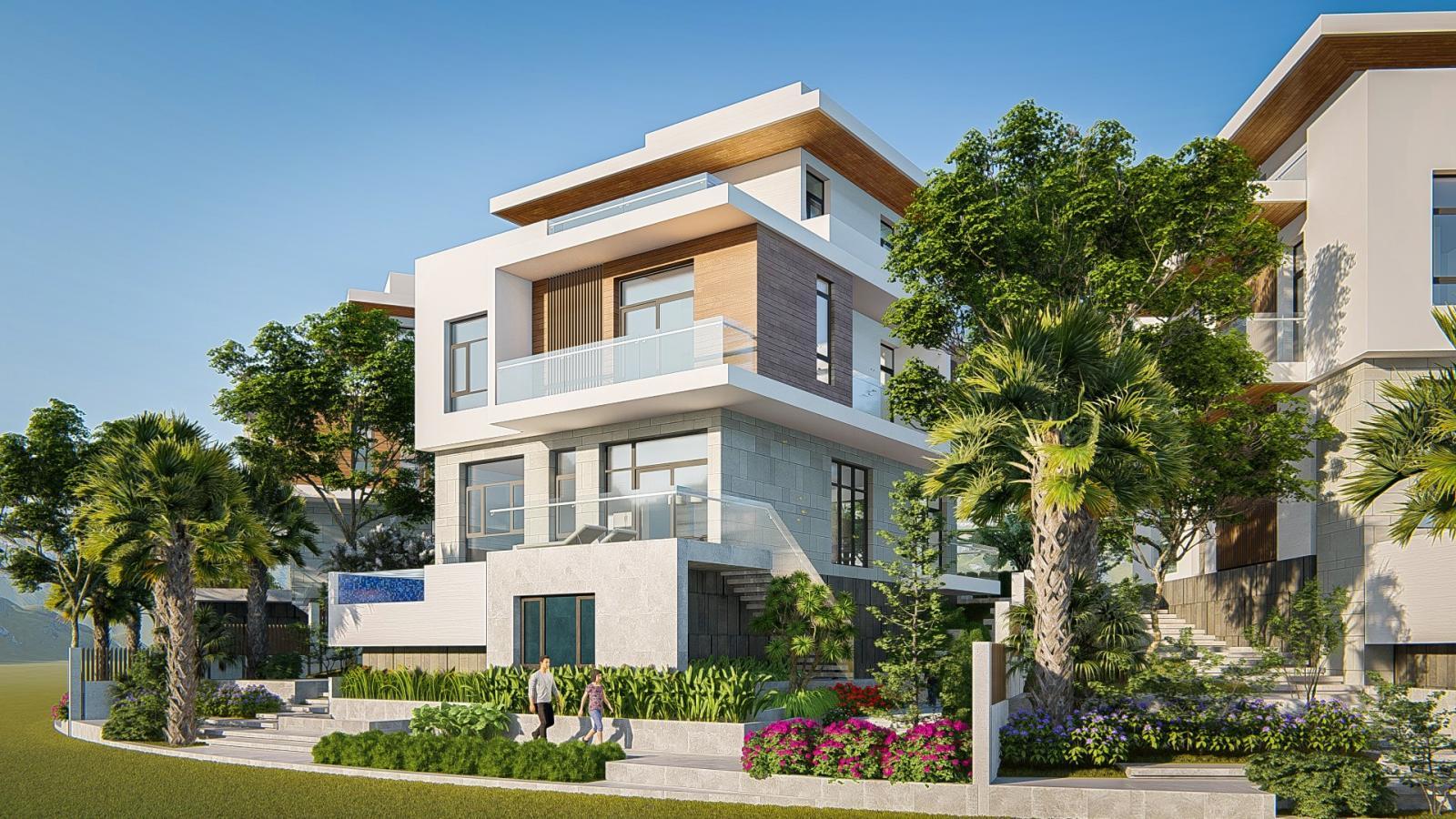 Một căn biệt thị 3 tầng, xung quanh trồng nhiều cây xanh và có 2 người đi bộ dưới vỉa hè