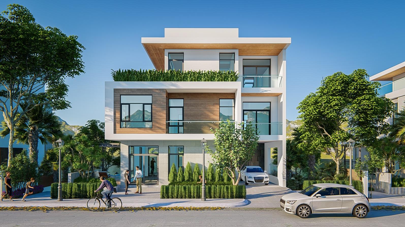 Một căn biệt thự 3 tầng, xung quanh có nhiều cây xanh, người đạp xe, chạy bộ và ô tô