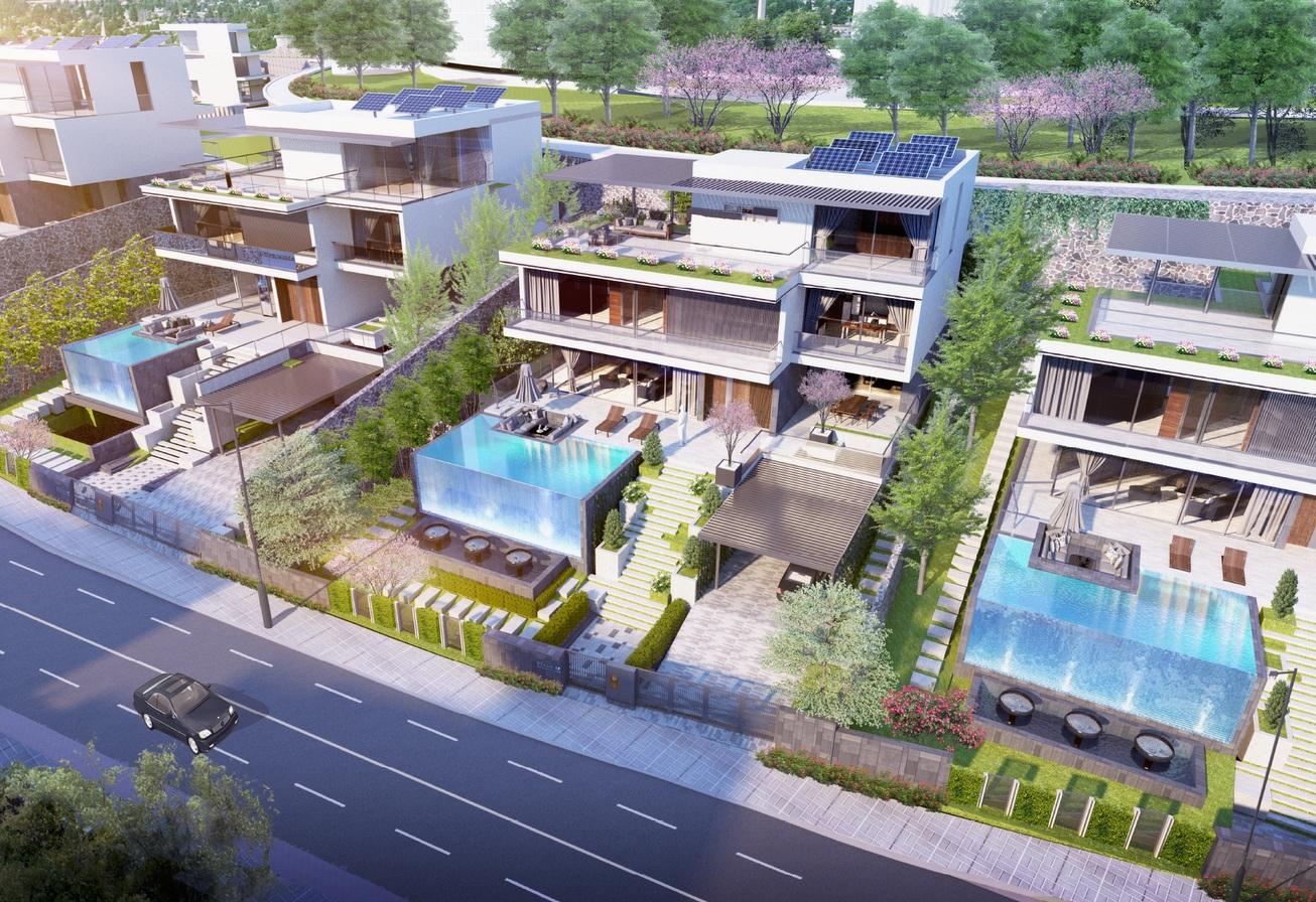 Một dãy biệt thự nằm sát đường có hồ bơi phía trước, trên mái có dàn pin năng lượng mặt trời
