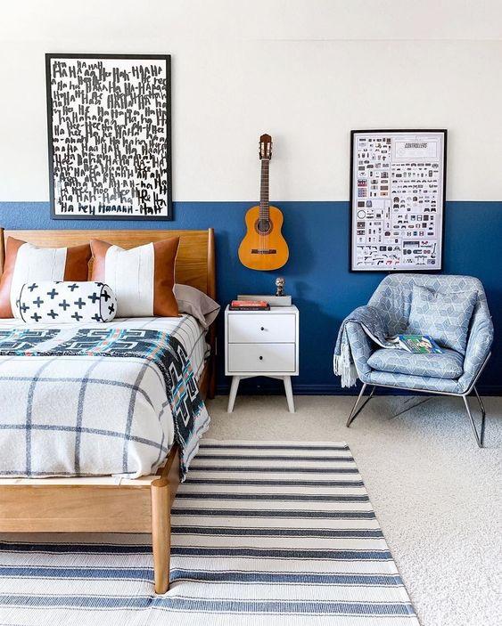 phòng ngủ màu xanh việt quất