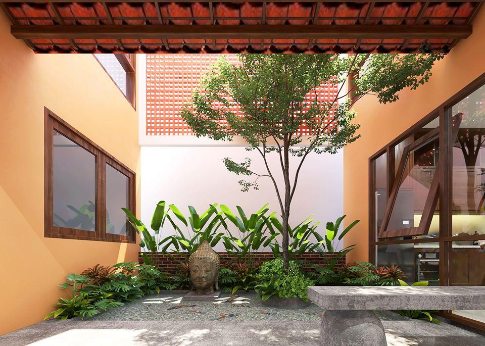 sân vườn với ghế đá