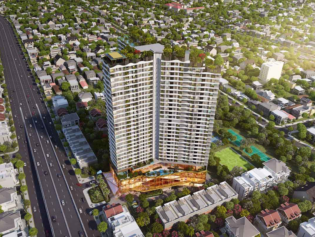 Phối cảnh tổng thể dự án Khu nhà ở thương mại cao tầng Lê Phong Bình Dương