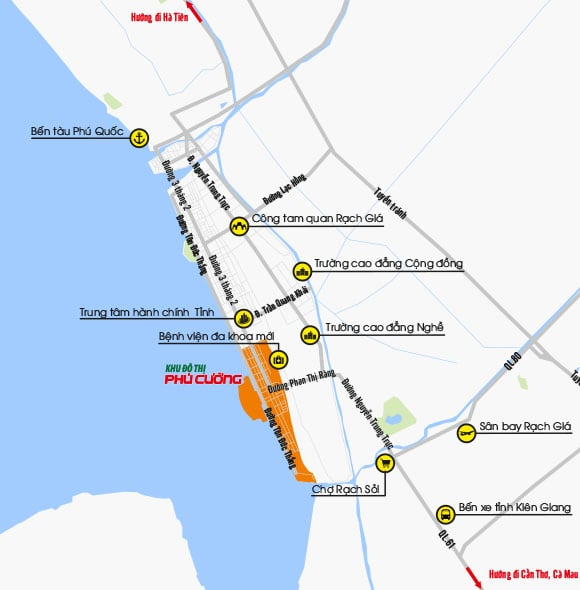 Vị trí dự án Khu đô thị Phú Cường trên bản đồ