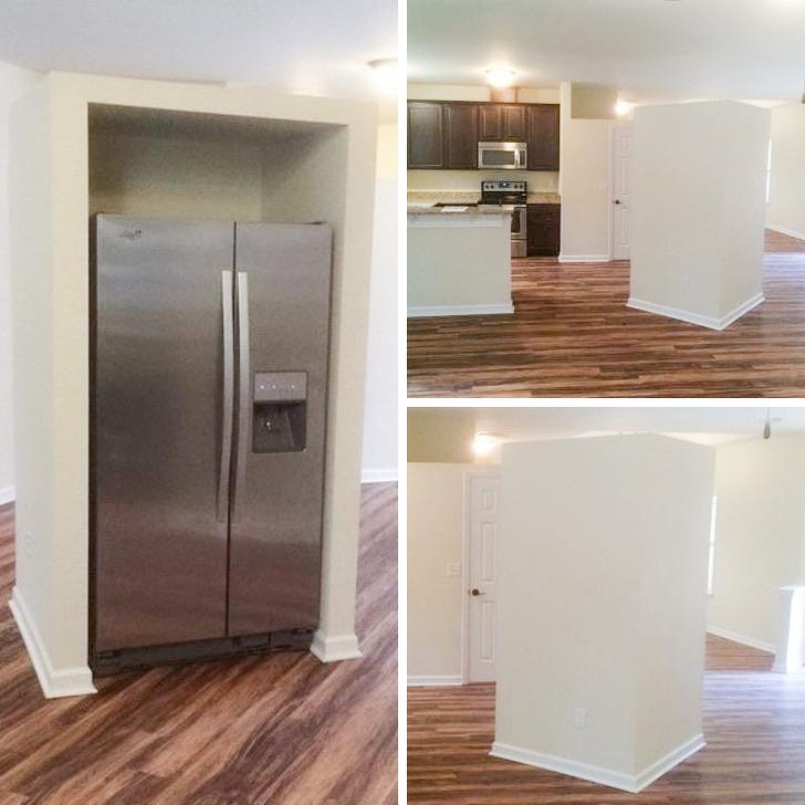 tủ lạnh đặt chính giữa bếp