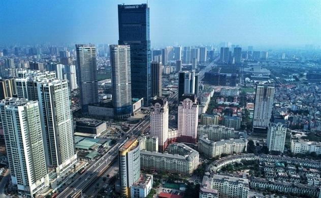Một góc thành phố Hà Nội gồm nhiều tòa nhà cao tầng