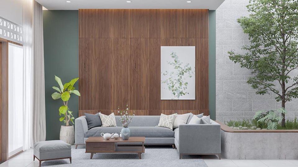 không gian tiếp khách với vách gỗ ốp tường