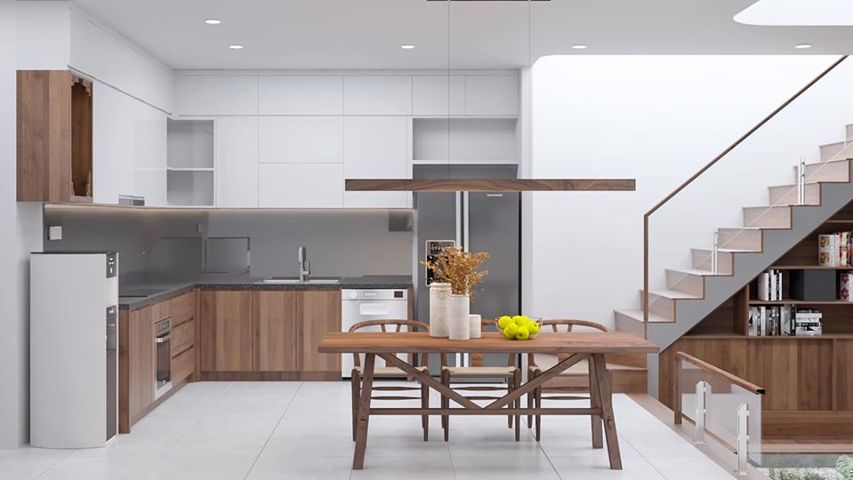 tủ bếp bằng gỗ tự nhiên