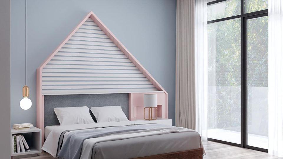 phòng ngủ bé gái màu hồng - xanh