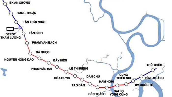 sơ đồ các trạm trên tuyến metro Bến Thành - Tham Lương
