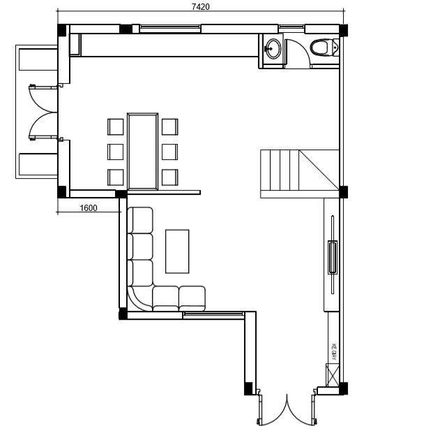 mặt bằng tầng 1 nhà phố 3 tầng chữ L