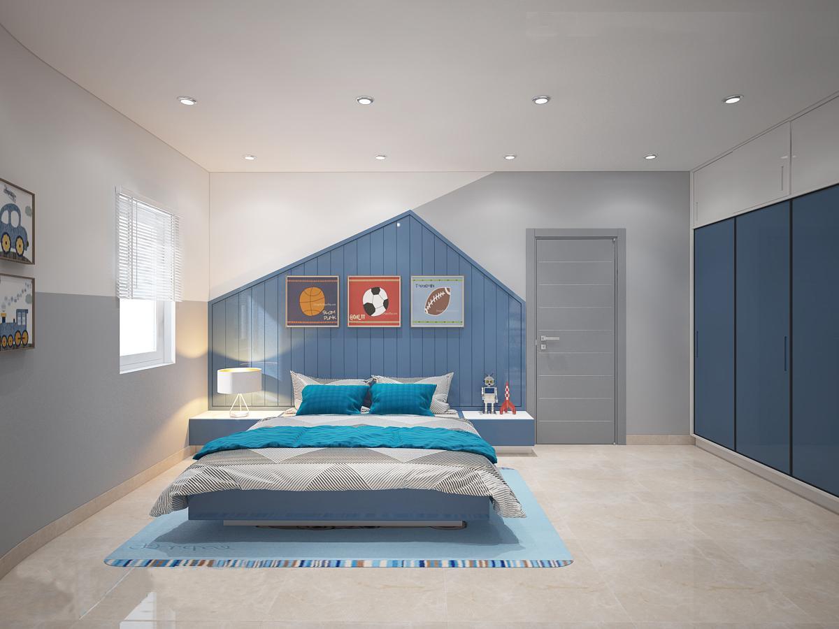 phòng ngủ bé trai với gam màu xanh chủ đạo