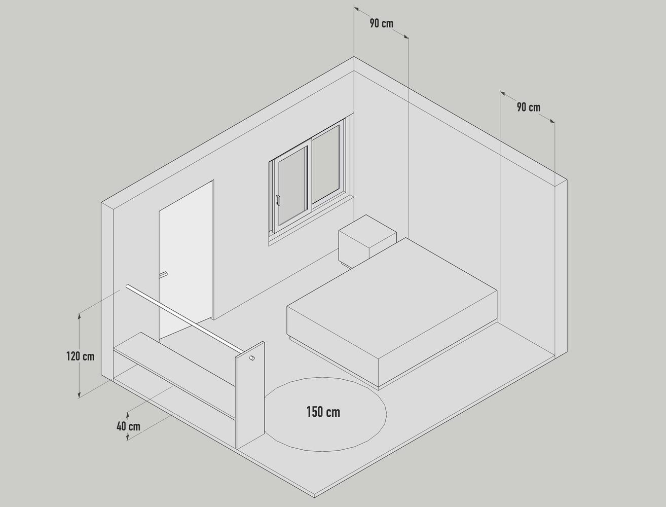 kích thước trong phòng ngủ
