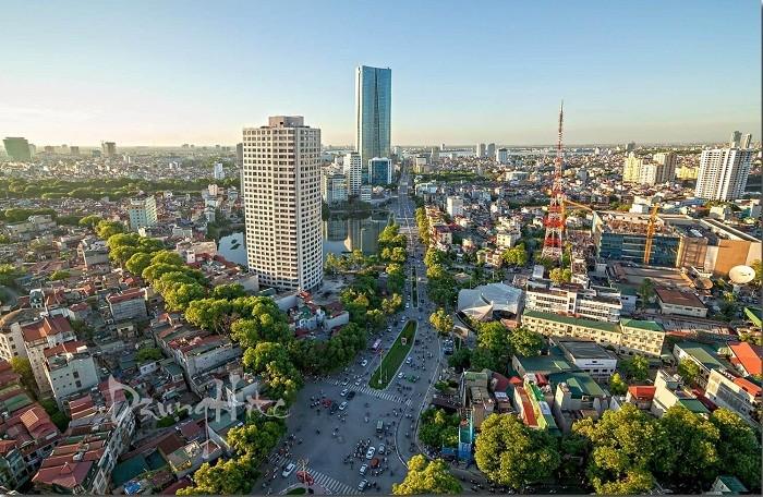 một góc thành phố có nhiều nhà ở cao tầng