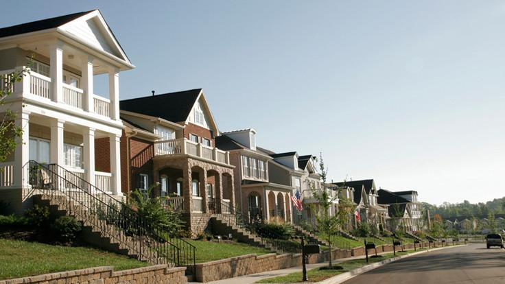 nhiều ngôi nhà tại khu phố ở Mỹ