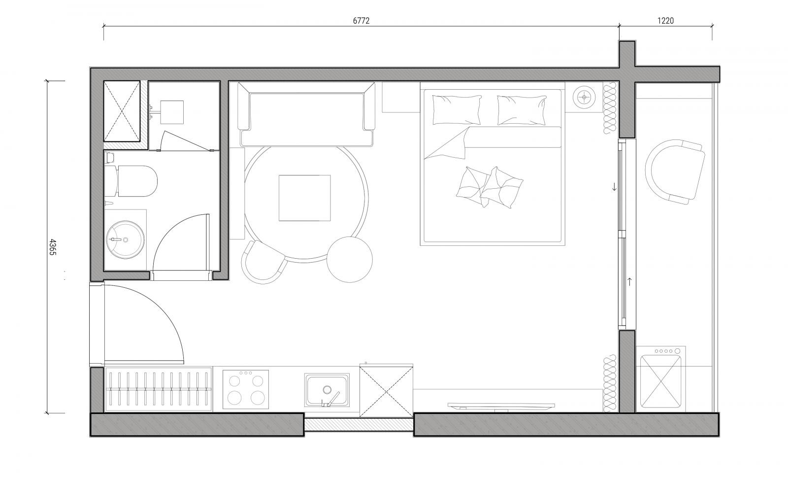 mặt bằng căn hộ 35m2