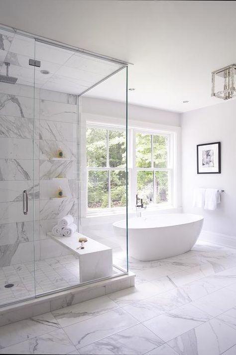 thiết kế phòng tắm màu trắng