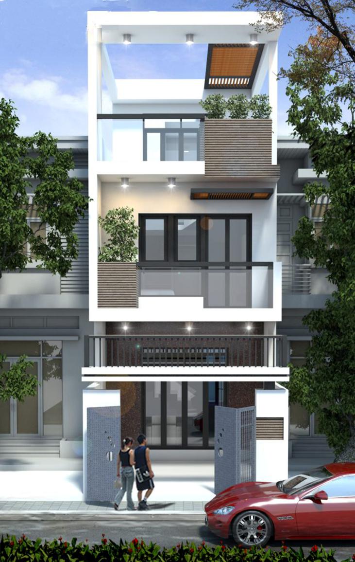 mặt tiền nhà phố 2 tầng 1 tum