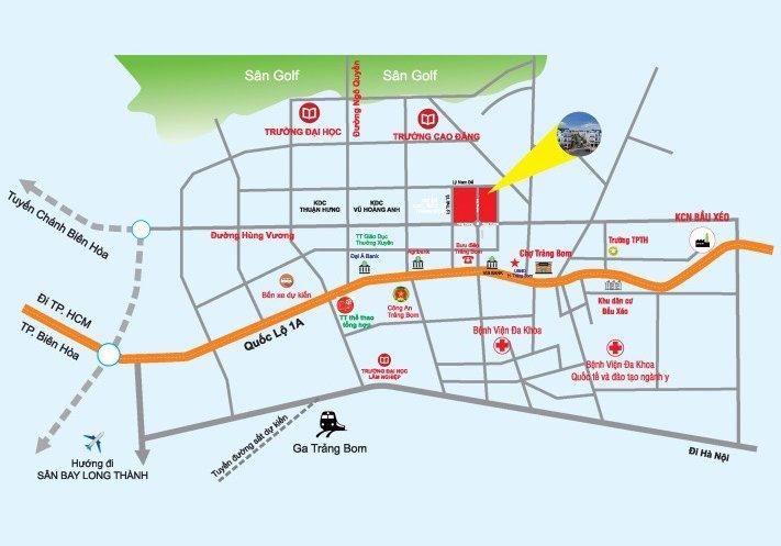 Vị trí dự án Khu dân cư và siêu thị Trảng Bom