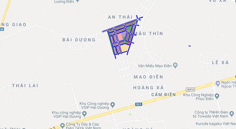 Vị trí dự án Khu dân cư Cẩm Điền Lương Điền