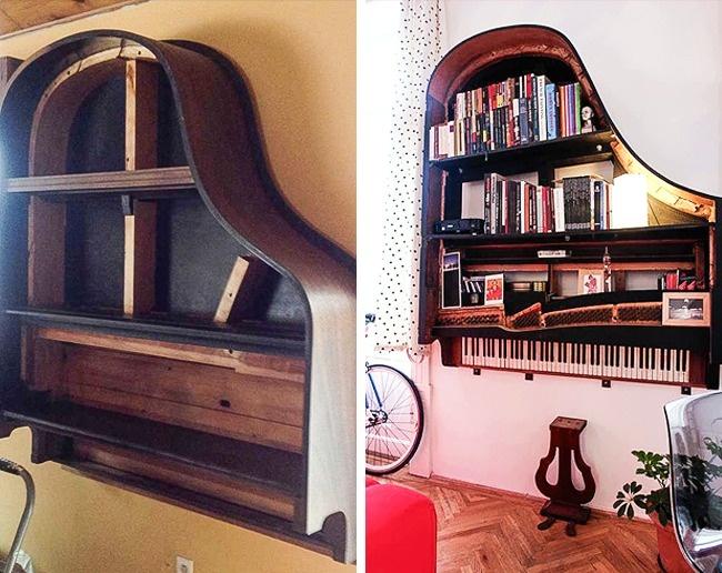 tái chế piano hỏng thành giá sách
