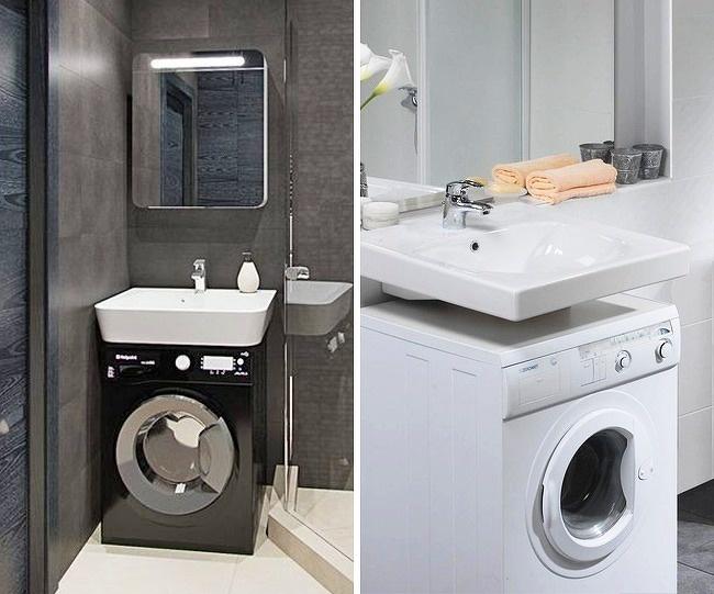 máy giặt đặt dưới bồn rửa