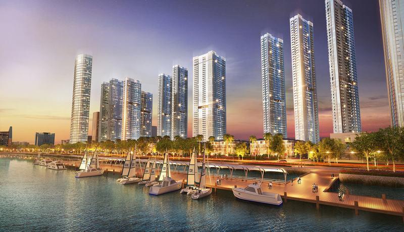 nhiều tòa nhà chung cư bên bờ sông