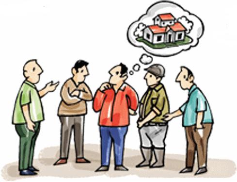 nhiều người đứng tranh luận với nhau về 1 ngôi nhà