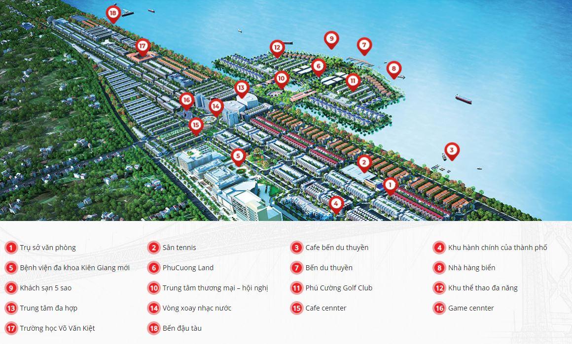 Sơ đồ tiện ích nội khu dự án Khu đô thị Phú Cường