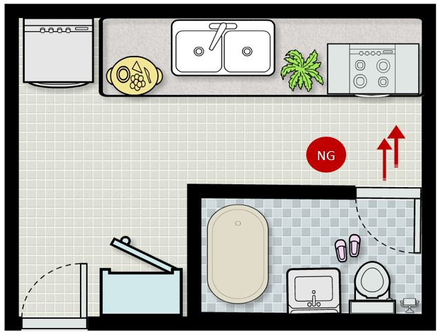 Ảnh vẽ mô phỏng vị trí bếp đặt đối diện cửa nhà vệ sinh.