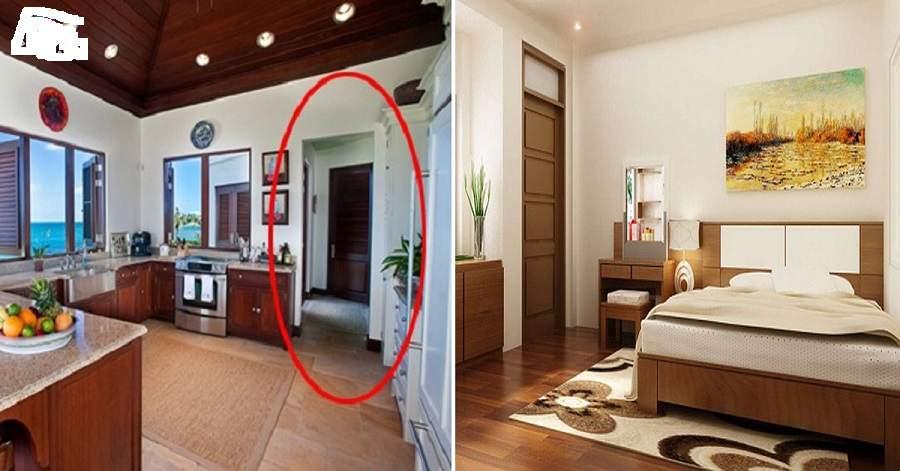 Ảnh ghép một bên phòng ngủ một bên phòng bếp, vị trí bếp đối diện cửa phòng ngủ.