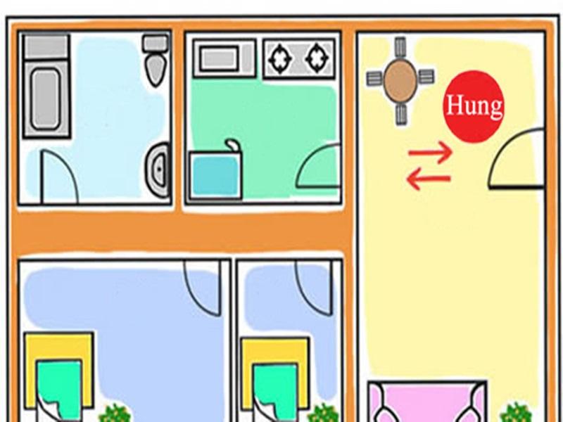 Ảnh vẽ mô phỏng vị trí bếp gần cửa ra vào.