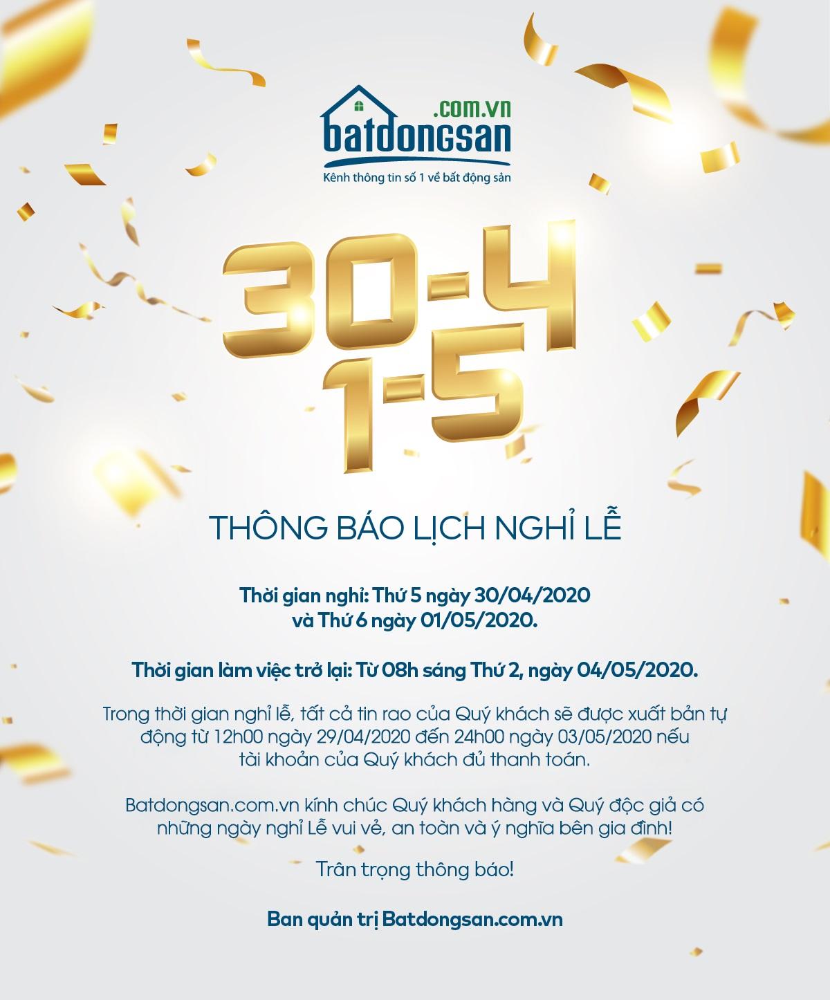 Thông báo lịch nghỉ lễ 30/4 và 1/5 của Batdongsan.com.vn