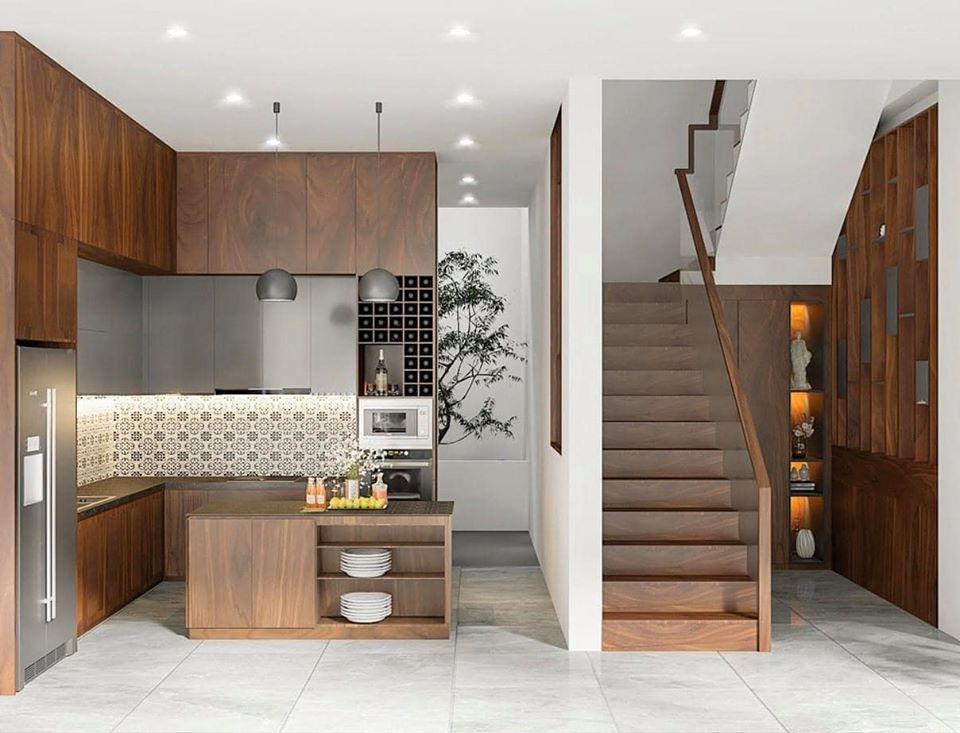 tủ bếp bằng gỗ óc chó