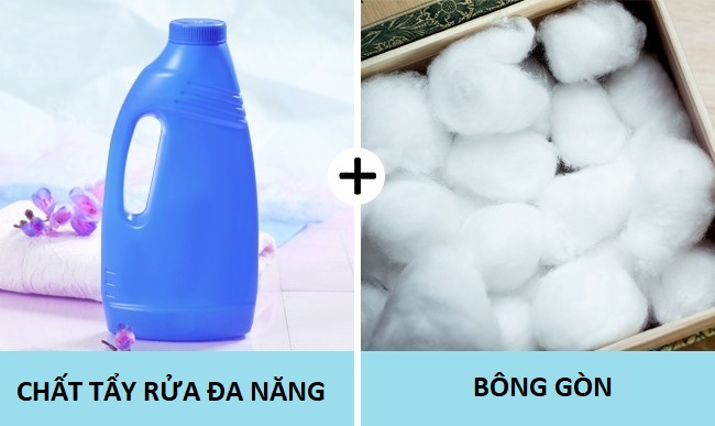 chất tẩy rửa đa năng và bông gòn