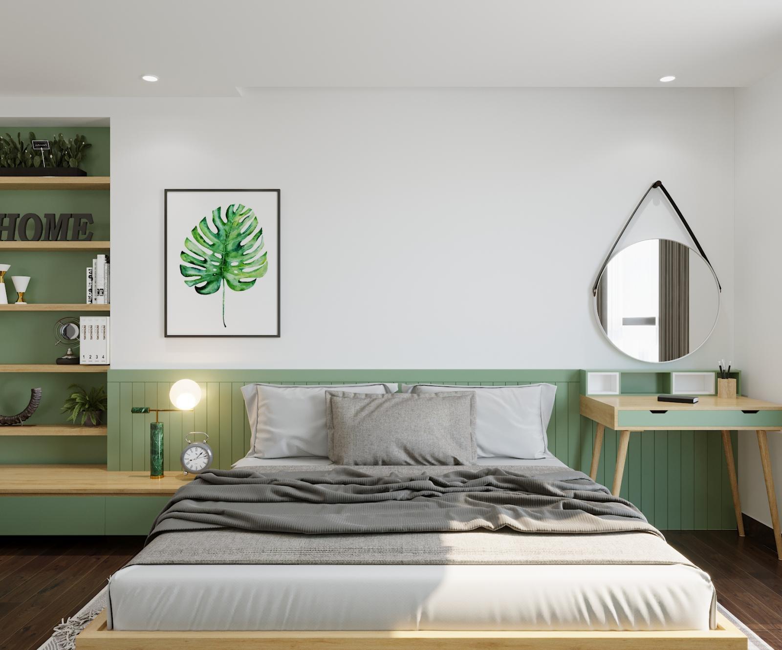 phòng ngủ màu xanh oliu