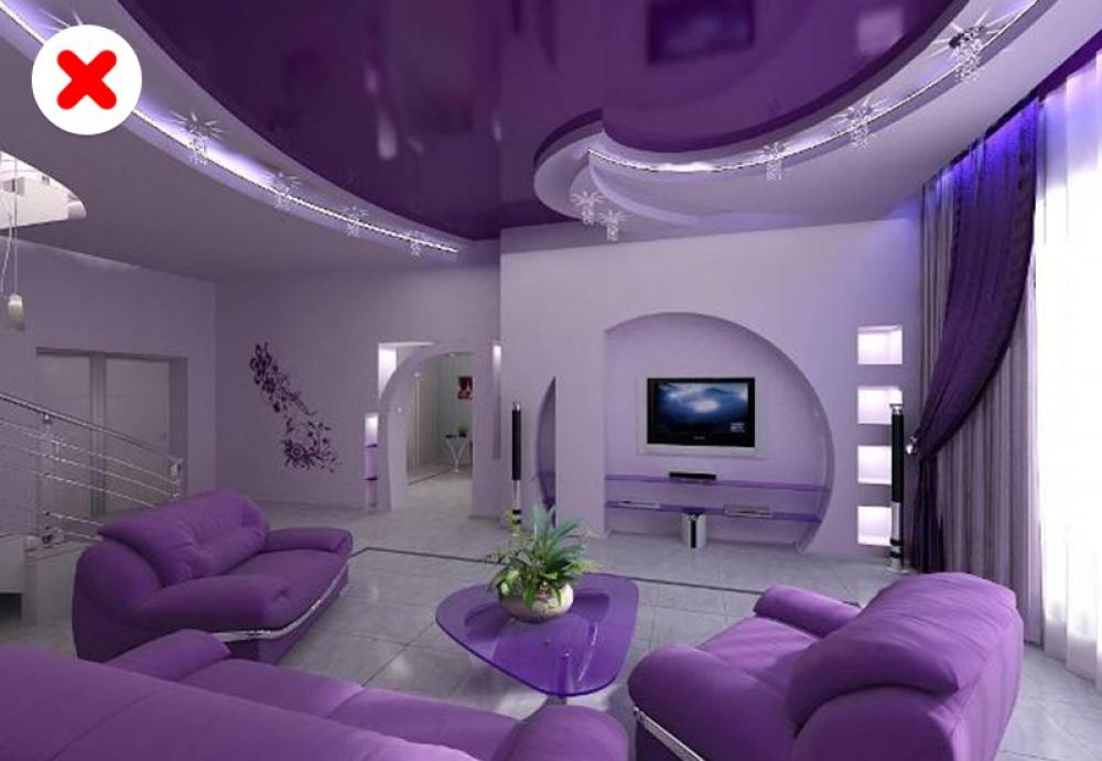 phòng khách màu tím
