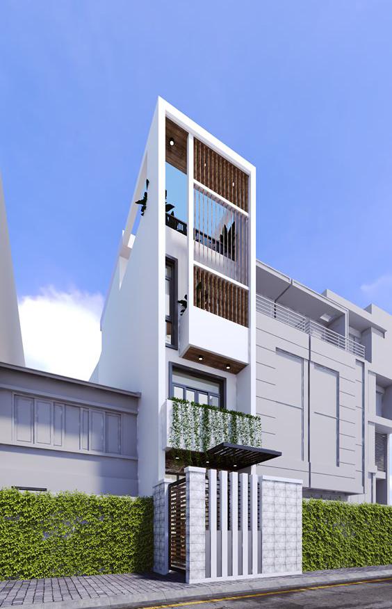 bản vẽ 3D mặt tiền nhà 1 trệt 2 lầu có sân thượng
