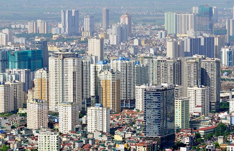 nhiều tòa nhà cao tầng nằm san sát trong thành phố