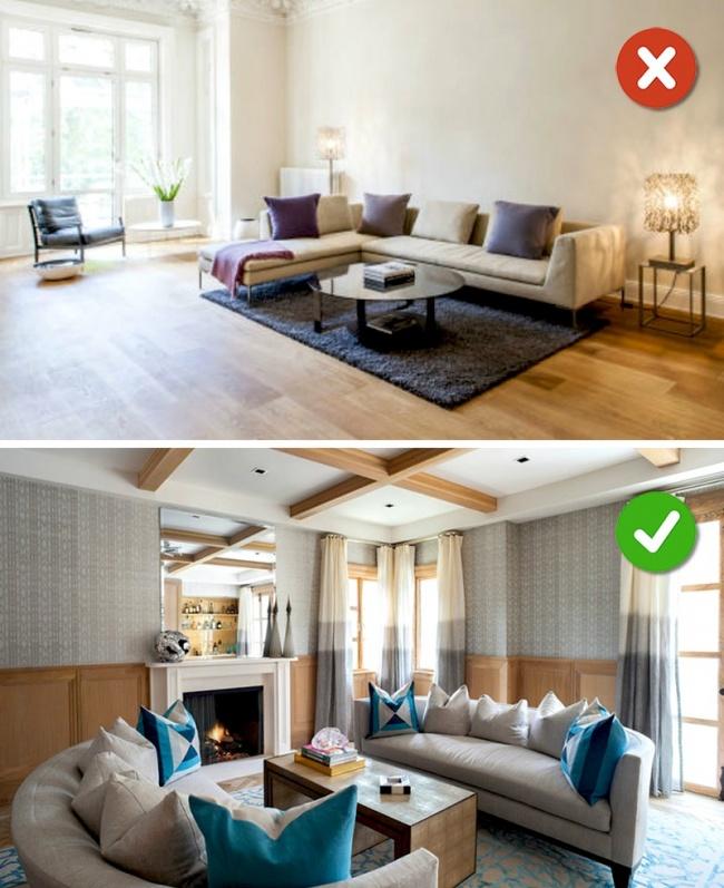 kê sofa sát tường khi thiết kế nội thất phòng khách