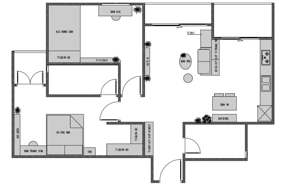 bản vẽ mặt bằng căn hộ 2 phòng ngủ