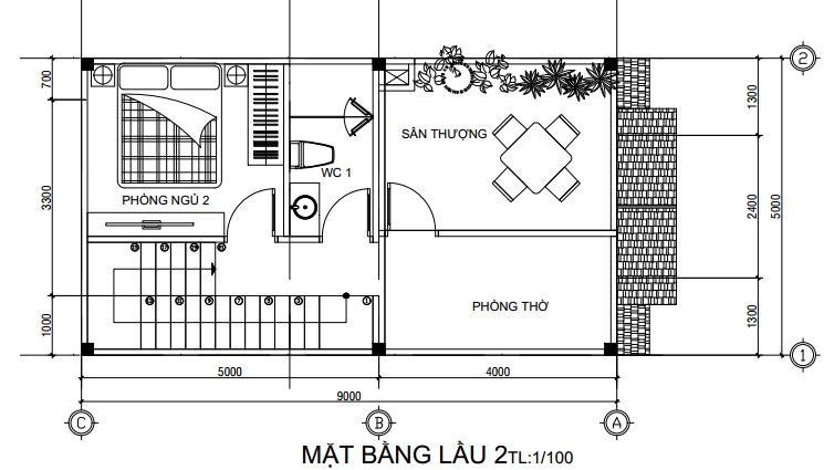 Mặt bằng thiết kế nhà 1 trệt 2 lầu mái Thái