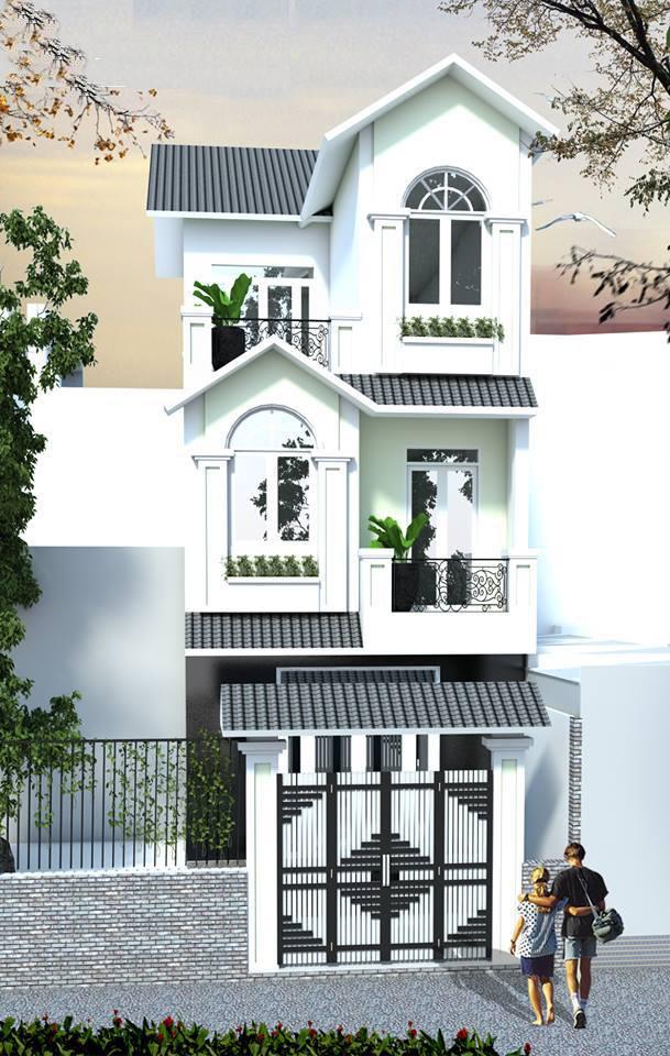 Phối cảnh tổng thể mặt tiền nhà 1 trệt 2 lầu mái Thái
