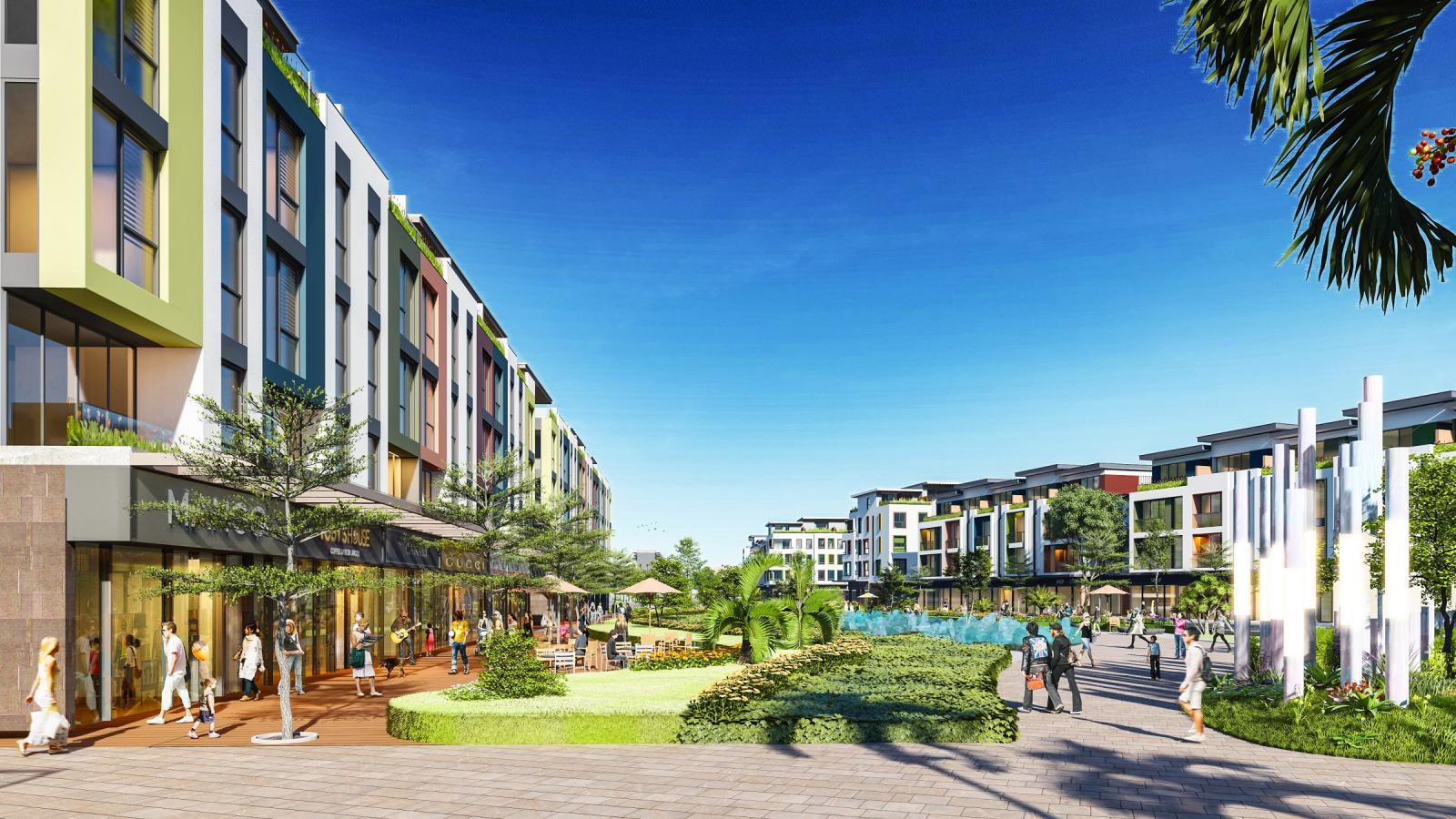 Khuôn viên của dự án với các dãy nhà, cây xanh