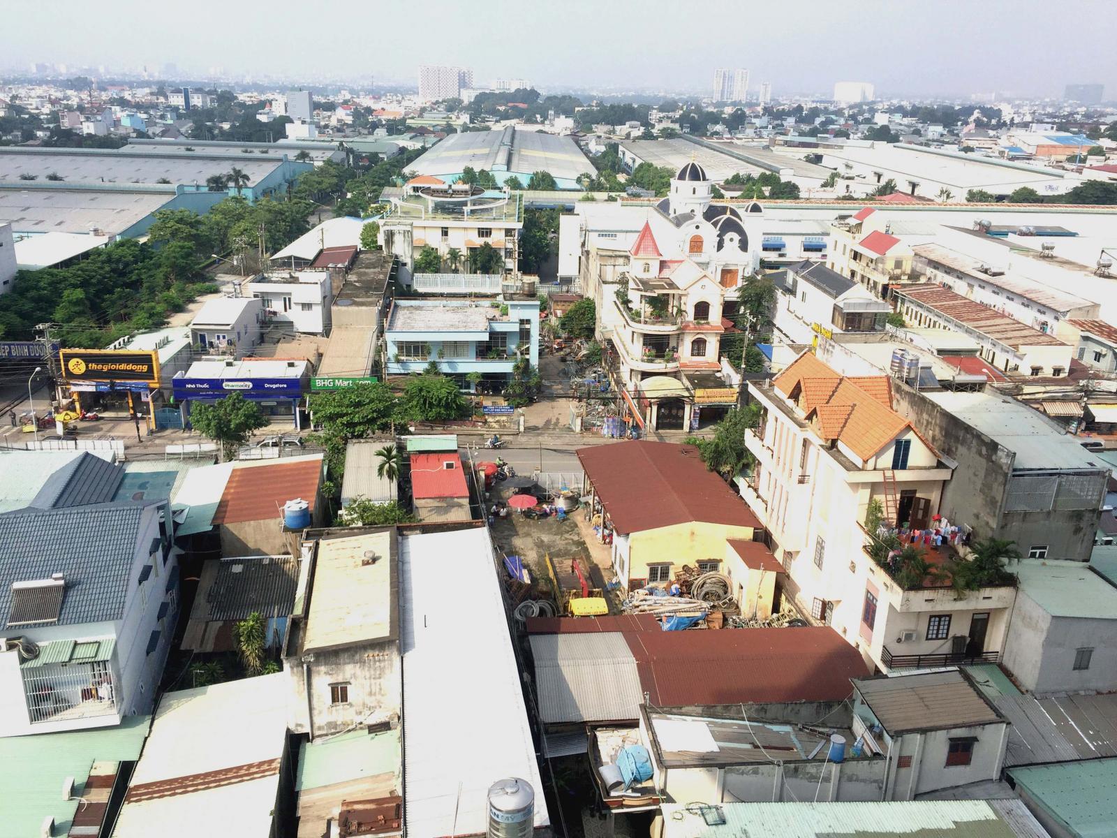Ảnh chụp trên cao những ngôi nhà phố, nhà lẻ nằm san sát nhau tại nội thành Tp.HCM